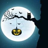 fond pour Halloween Hibou noir sur l'arbre Potiron avec les yeux jaunes rougeoyants Les battes volent dans la perspective du plei Photos libres de droits