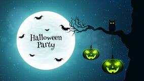 Fond pour la partie de Halloween Promenades de chat noir par l'arbre Les battes volent dans la perspective de la pleine lune Pomp Photographie stock