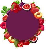 Fond pourpre rond avec les fruits tropicaux lumineux illustration de vecteur