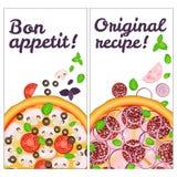 Fond réaliste d'insecte de pizzeria de pizza Deux bannières verticales de pizza avec les ingrédients et le texte sur le contexte  illustration libre de droits