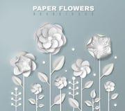 Fond réaliste de fleurs de papier illustration de vecteur