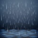 Fond réaliste de pluie de chute illustration stock
