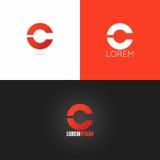 Fond réglé d'icône de conception de logo de la lettre C illustration de vecteur