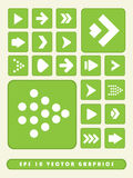 fond réglé de 2D icône verte de flèche Photos libres de droits