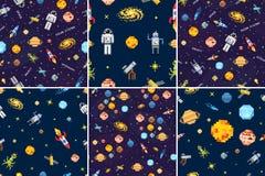 Fond réglé de modèle sans couture de l'espace, astronaute étranger, fusée de robot et art de pixel de planètes de système solaire illustration de vecteur