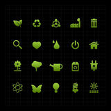 Fond réglé de noir d'icône d'icône verte d'écologie Photo stock