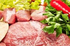Fond réglé de viande photo stock