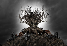 Fond rampant d'arbre de Halloween Photo libre de droits