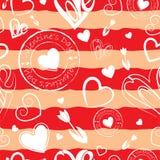 Fond rayé de jour du ` s de Valentine image libre de droits