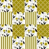 Fond rayé de modèle floral sans couture de pavot de patchwork illustration stock