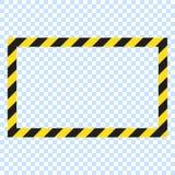Fond rectangulaire rayé d'avertissement, avertissant d'être rayures soigneuses et potentielles de danger, jaunes et noires sur la illustration stock