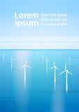 Fond renouvelable de mer de station de l'eau d'énergie de turbine de vent illustration de vecteur