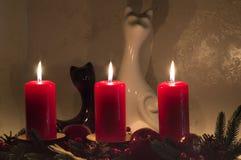 Fond romantique avec des bougies, des statues de chats et la flamme dans l'obscurité Image stock