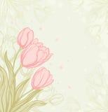 Fond romantique avec des tulipes illustration stock