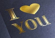 Fond romantique avec je t'aime le texte Photographie stock libre de droits