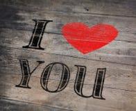 Fond romantique avec je t'aime le texte Photo stock