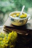 Fond romantique avec la tasse du thé, des fleurs et du livre ouvert plus de images stock