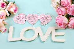 Fond romantique d'amour dans des couleurs en pastel Images stock