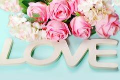 Fond romantique d'amour dans des couleurs en pastel Image stock