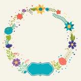 Fond romantique de diverses fleurs dans rétro Image stock