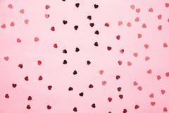 Fond romantique rose fait de coeurs Images stock
