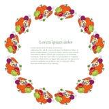 Fond rond avec le légume coloré, lorem ipsum Vecteur plat de conception Photographie stock