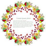 Fond rond avec les fruits de peinture colorés, lorem ipsum Vecteur plat de conception Photographie stock libre de droits