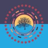 Fond rond coloré de technologie avec l'arbre Illustration digitale abstraite Concept de connexion Conception ronde électronique m Photos stock