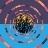 Fond rond coloré de technologie avec l'arbre Illustration digitale abstraite Concept de connexion Conception ronde électronique m Images libres de droits