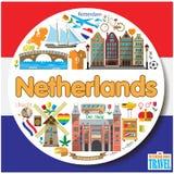 Fond rond néerlandais Icônes et ensemble de symboles plats colorés par vecteur illustration de vecteur