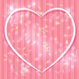 Fond rose abstrait avec des rayures, éclat léger Coeur Valen Photo libre de droits