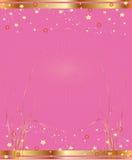 Fond rose avec de l'or et des étoiles Photographie stock libre de droits