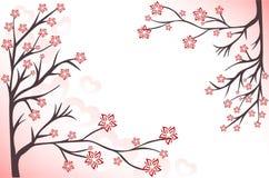 Fond rose avec des branchements Image libre de droits