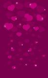 Fond rose avec des coeurs Effet en baisse étincelles Images libres de droits