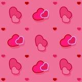 Fond rose avec des coeurs, s'enveloppant Photos stock