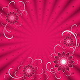 Fond rose avec des fleurs Images stock
