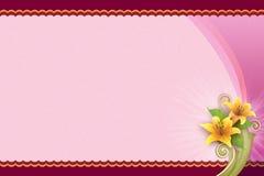 Fond rose avec la fleur pour la carte vierge Photo libre de droits