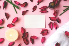 Fond rose avec les pétales, la bougie, la fleur d'orchidée et la cannette de fil secs Images libres de droits