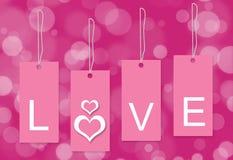 Fond rose de blanc d'étiquette d'amour Photographie stock libre de droits