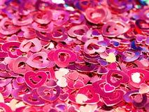 Fond rose de confettis Images libres de droits
