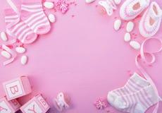 Fond rose de crèche de fête de naissance image stock