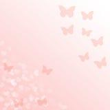 Fond rose de gradient avec des papillons Photos libres de droits