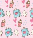 Fond rose de kawaii avec le sac de cadeau et la sucrerie de coton illustration stock