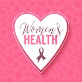 Fond rose de vecteur avec le cadre de coeur Campagne de mois de conscience de cancer du sein d'octobre illustration de vecteur