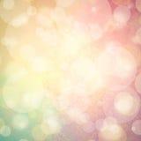 Fond rose de vert jaune et bleu avec les bulles ou les lumières blanches de bokeh Photos libres de droits