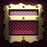 Fond rose en métal avec l'élément jaune Photographie stock libre de droits