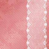 Fond rose et blanc avec le lacet Photo stock