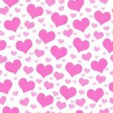 Fond rose et blanc de répétition de modèle de tuile de coeurs Photos libres de droits