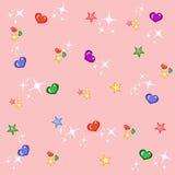 Fond rose puéril avec des étoiles et des coeurs Photo libre de droits