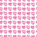 Fond rose sans couture tiré par la main de coeurs illustration de vecteur